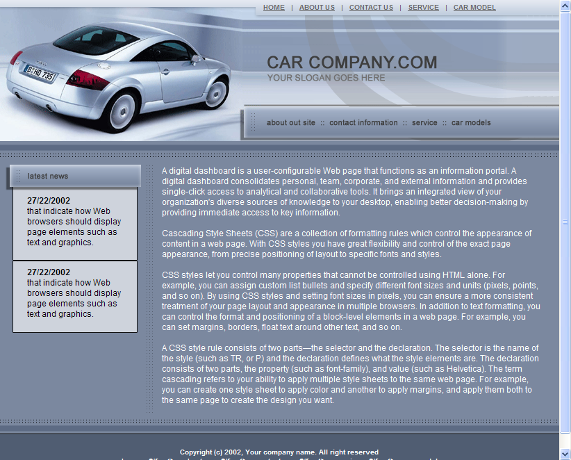 Car Dealer Web Template HTML Download