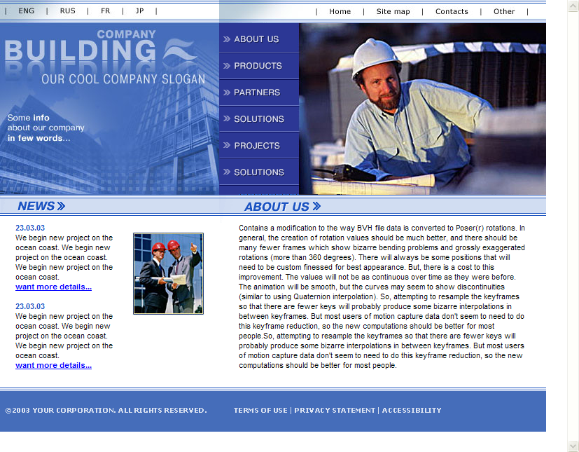 Contractor HTML Web Template Construction Company Download
