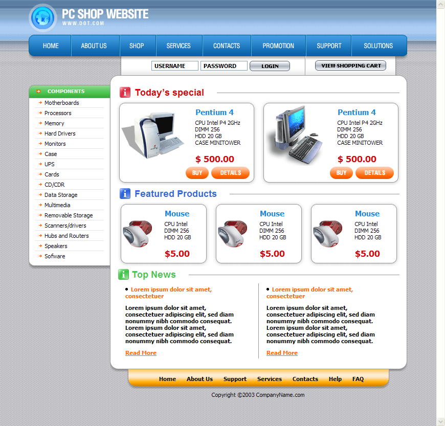 Free Computer Store Web Template Download Download